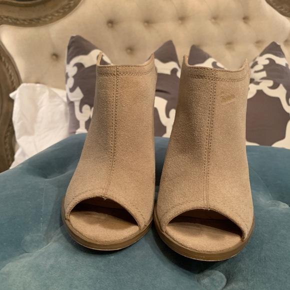 suede open toe mules